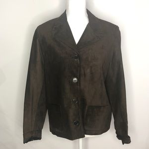 Ann Taylor Medium Brown Suede Leather Jacket